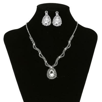 Fashion Crystal Diamante Wedding Bridal Necklace Earring Party Jewelry Set