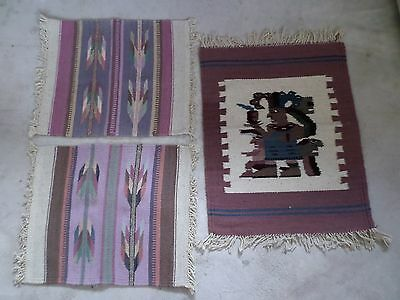 Vintage Mexican Zapotec Wool Textile Placemat Runner Set Mayan Southwest