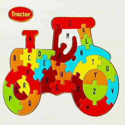 1* Children Wooden Cartoon Animals Jigsaw 26 Letters Puzzles Baby Kids Toys Gift