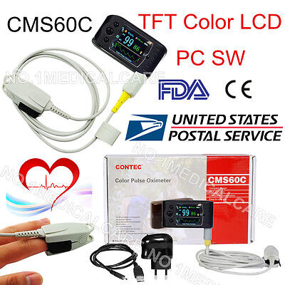 FDA US CMS60C Portable Pulse Oximeter OLED Spo2 PR Monitor Alarm/Software,CONTEC