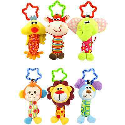 0-3 Years Baby Rattle Hand Bell Toys for Children Animal Plush Kids Game Gifts