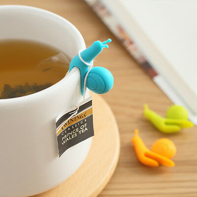 6PCS/Set Cute Snail Shape Silicone Clips Holder for Tea Bags Cup Mugs Gifts