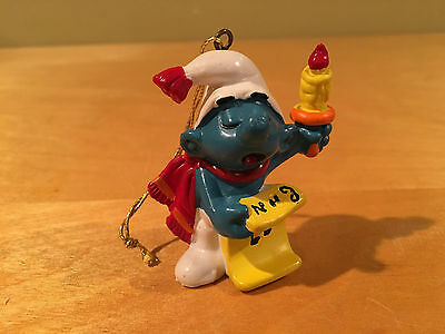 Vintage Smurf Christmas Ornament Holding Candle Peyo Schleich 1981