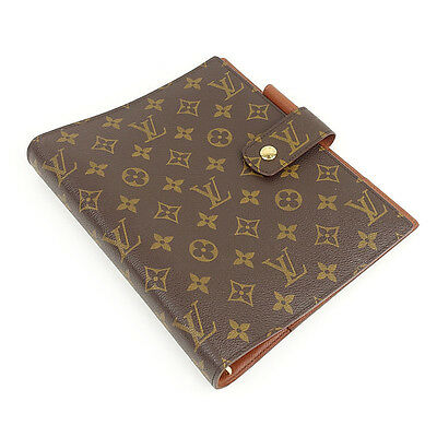 Authentic LOUIS VUITTON Monogram Agenda GM Notebook Cover Brown R20106 Used F/S