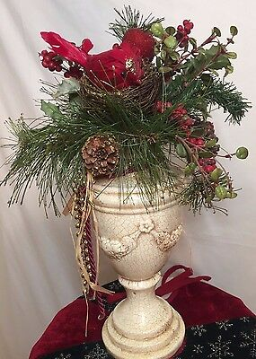 Holiday Christmas Silk Floral Arrangement in Ceramic Urn / Vase with cardinal