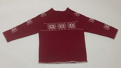 HANNA ANDERSSON Red & White Nordic Snowflake Sweater 100 Boys or Girls Size 4