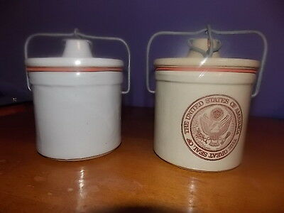 2- Vintage Ceramic Crock With Bail Clamp Top