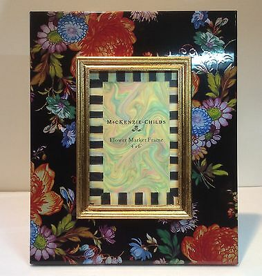 """Mackenzie Childs Black Flower Market Frame.  for 4"""" x 6"""" picture new with box"""