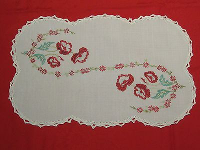 Vintage Hand Embroidered Linen Doily