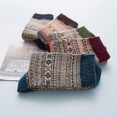 1 Pairs Unisex Thermal Winter Warm Socks Knit Wool Crochet Cotton Socks Retro