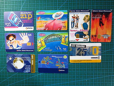 LOT 9x USED Telstra & Odd Provider Phonecards, Never Been Kissed, Jimmy Barnes +