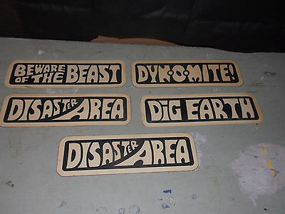 Lot of 5 Double Sided DOOR Signs DYNOMITE, DISASTER AREA, KEEP OUT. OUT OF ORDER