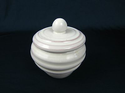 Rackliffe Pottery White Lidded Sugar Bowl Blue Hill Maine Signed