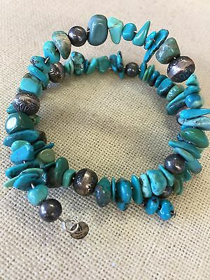 Carolyn Pollack Turquoise Coil Wrap Bracelet Sterling Accent Beads