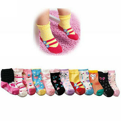 1Pair Cute Soft Baby Kids Cotton Socks Toddler Anti-Slip Shoe for 1-3 Years Old