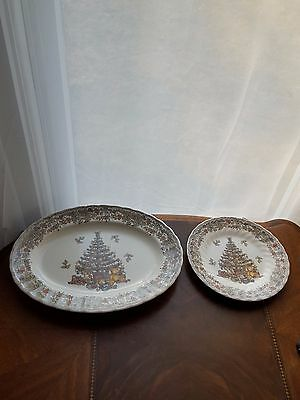 """Myott Factory Archive Seasons Greetings 13"""" Oval Platter and 8"""" Salad Plate"""