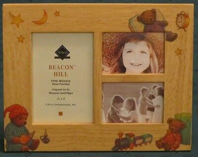 """Fetco Beacon Hill Wood Frame with Teddy Bears Baby 3 Pictures 5"""" x 3.5"""", 2"""" x3"""""""