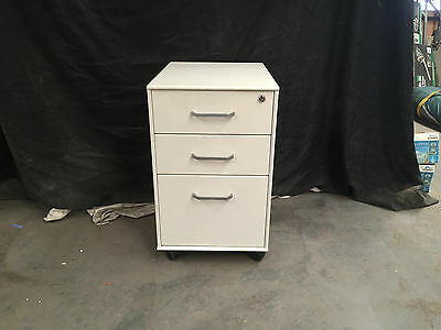 Small Three Drawer Desk Filing Cabinet On Wheels White