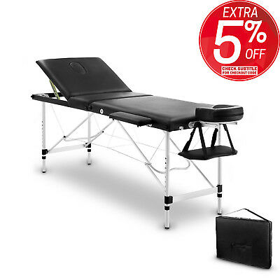 Portable Aluminium 3 Fold Massage Table Bed Chair Body Therapy Waxing 70cm Black