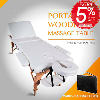 Portable Wooden 3 Fold Massage Table Bed Chair Body Therapy Waxing 70cm White