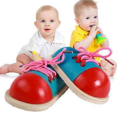 1*Kids Montessori Toys Wooden Toddler Lacing Shoes Early Learning Gifts for Baby