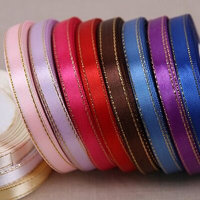 """25yards Of 10mm (3/8"""") Edge Gold/Silver Satin Ribbon Rolls Many Colours"""