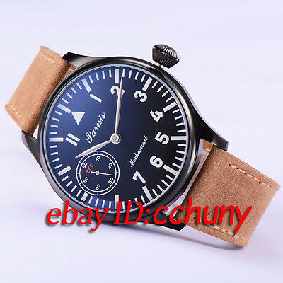 44mm Parnis Big Black Dial pvd case  Mechanical 6497 mens Watch 1749