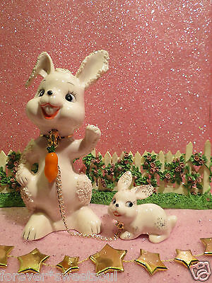 Vintage Easter Pink Bunny Rabbit Mom W Baby Set of 2 W Lampwork Carrot Charm