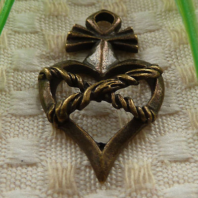 free ship 20 pieces Antique bronze heart charms 36x22mm #3871