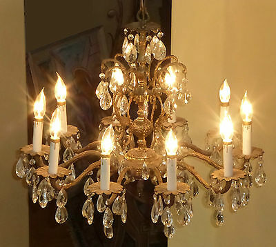 Vintage French Provincial Brass Crystal 10 Arm CHANDELIER Light w 106 Crystals