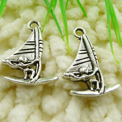 Free Ship 105 pieces tibetan silver sailing boat charms 27x19mm #371