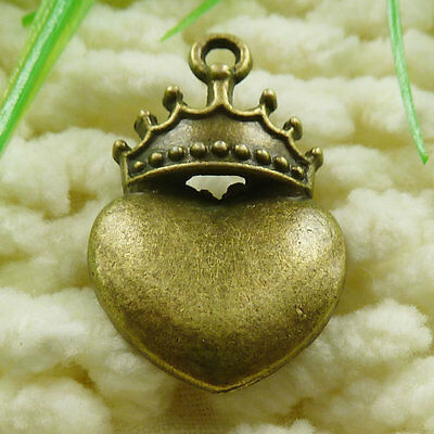Free Ship 30 pieces Antique bronze crown heart charms 28x18mm #1818