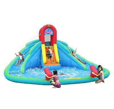 Kids Inflatable Double Water Slide Castle Pool Park New Summer Fun With Pump