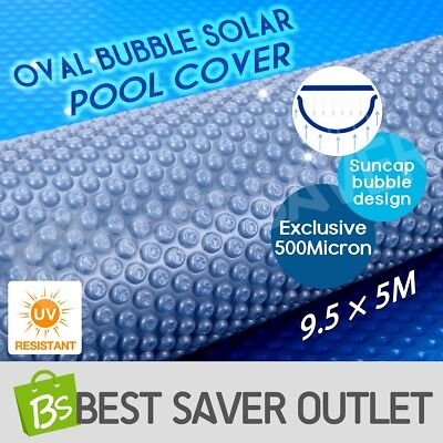 9.5M x 5M 500 Micron Solar Swimming Pool Cover Oval Bubble Blanket Blue/Silver