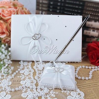 Guest Book +Pen Set Double Heart Diamond For Wedding Baby Shower Supply - White