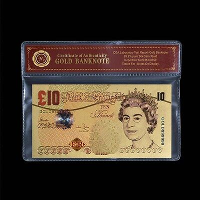 WR British £10 Pounds 24k Gold Plated Banknote Britain UK gold bank note value
