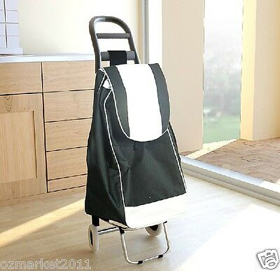 * Convenient Black + White Two Wheel Collapsible Shopping Luggage Trolleys