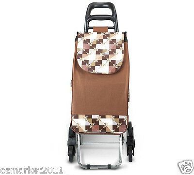 * Convenient Steel Brown Pattern Six-Tire Collapsible Shopping Luggage Trolleys