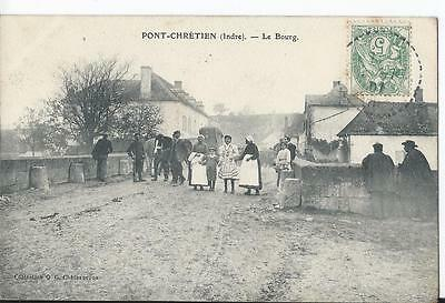 CPA - PONT-CHRETIEN (36) Le Bourg - ANIMEE