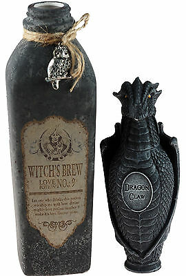 Set Of 2 Witches Brew Potion / Dragon Claw Poison Bottles