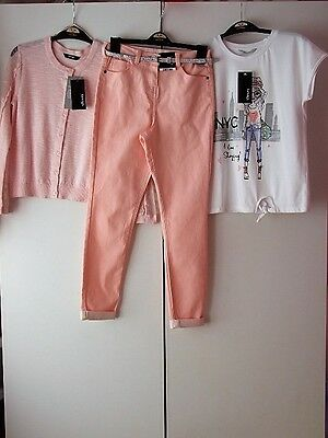 Girls Jeans Top & Cardigan Outfit Pink Age 9-10 Years