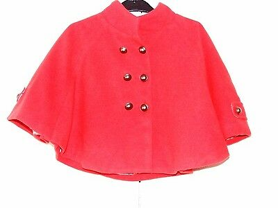 Girl's Red Winter Cape Cloak Age 4-5 Years