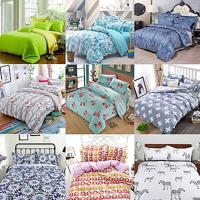 Duvet Cover Quilt Cover + Pillow Cases Bedding Set Single Double King All Size