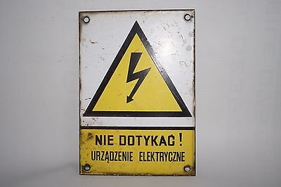 Vintage Metal Yellow Enamel Electrical Warning Sign Bolt Industrial Polish