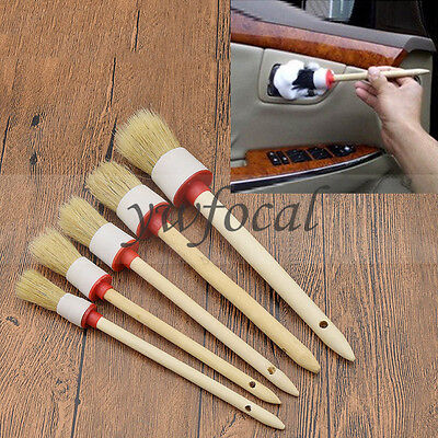 Round Bristle Head Oil Painting Brushes Car Paint Coating Supply Wooden Handle