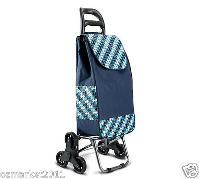 * Convenient Steel Lattice Blue Six-Tire Collapsible Shopping Luggage Trolleys