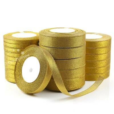 25Y 10/15/25/mm Glitter Gold Silver Organza Ribbon Wedding Craft Sewing Gift De