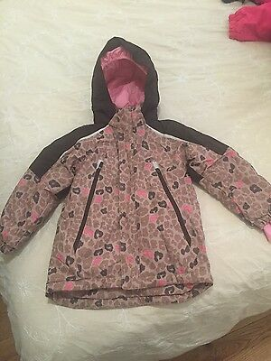 H&M Girls Pink Multi Colour Hooded Ski Jacket age 5/6 years