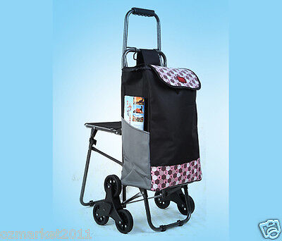 * Pink Pattern Chair Six-Tire Convenient Collapsible Shopping Luggage Trolleys