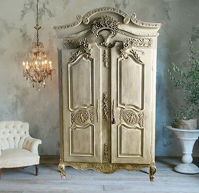 Antique French Armoire Louis XV Style Wardrobe, Shabby Chic Cabinet